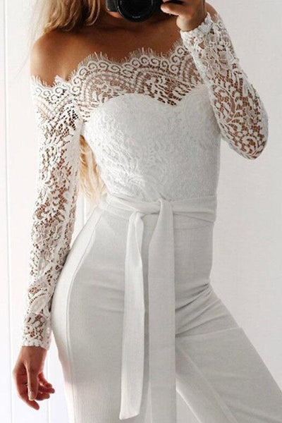 Off Shoulder Patchwork Lace Plain Jumpsuits