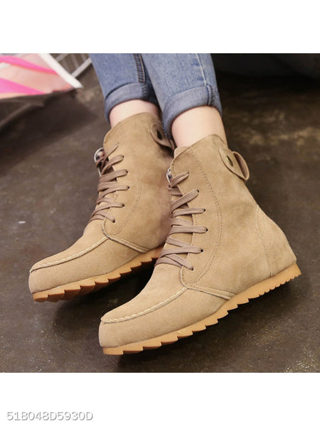 Plain Flat Faux Suede Cross Round Toe Casual Boots