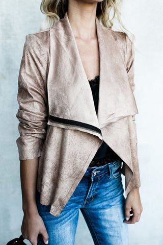 Lapel Asymmetric Hem Plain Jackets