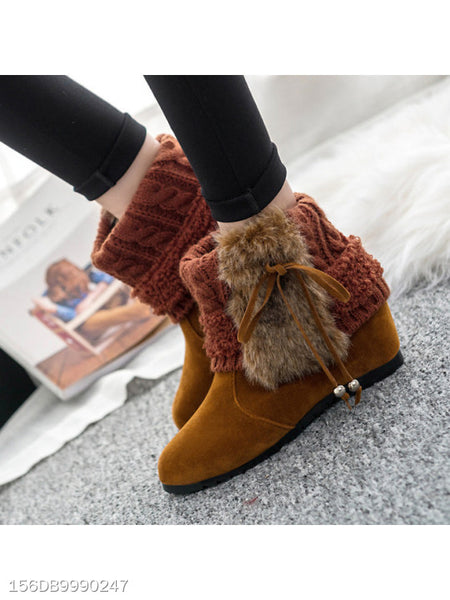Color Block Invisible Faux Suede Criss Cross Casual Boots