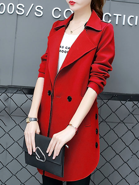 Lapel Pocket Plain Long Coat