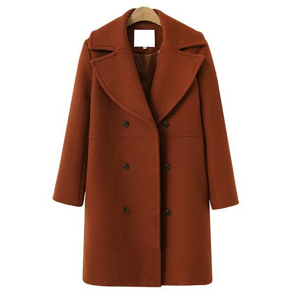 Long Wool Coat Windbreaker Woolen Jacket Coat