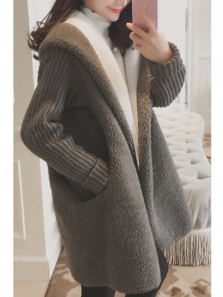 Hooded Pocket Faux Fur Coat