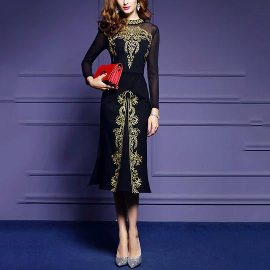 Embroidered Mesh Long-Sleeved Evening Dress