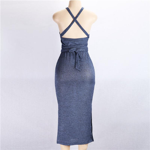 Halter Sleeveless Slim Evening Dress