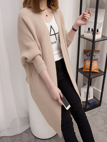 Collarless Plain Batwing Sleeve Cardigans