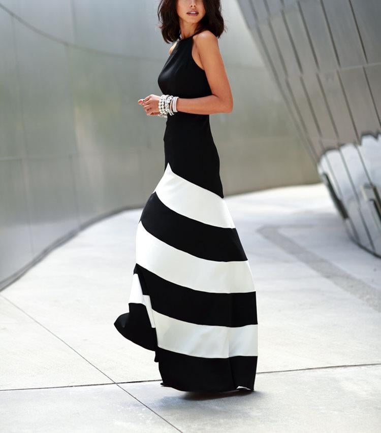 Striped Stitching Slim Sexy Evening Dress