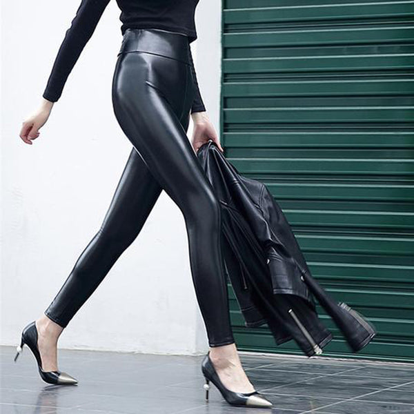 Sexy High Waist PU Bright Leather Faux Leather Trousers