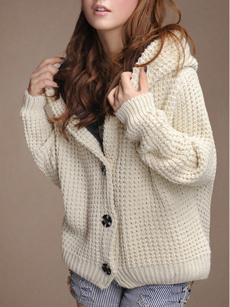 Hooded Fleece Lined Knitted Coat