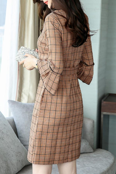 Crew Neck Belt Checkered Bell Sleeve Shift Dresses