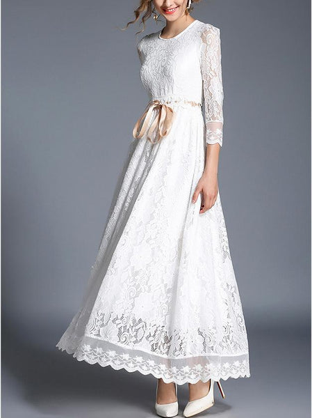 Lace Hollow Lace Temperament Evening Dress