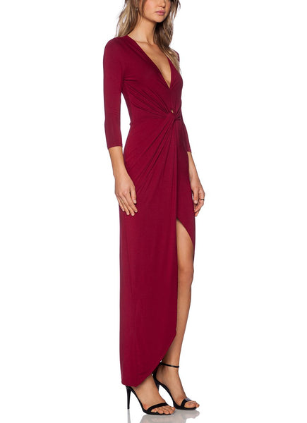 Slim Asymmetrical Maxi Dress