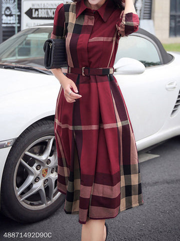 Button Down Collar Belt Checkered Skater Dresses