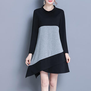 Spell Color Long Sleeve Loose Shift Dress