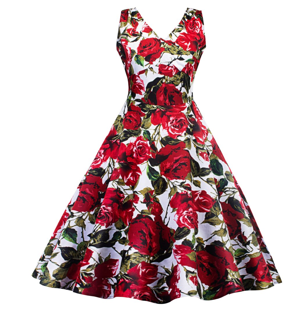 V Collar Rose Printed Skater Dress