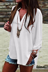 V Neck  Side Vented  Plain Blouses