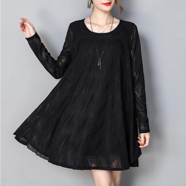 Lace Hollow Bow Knot Loose Shift Dress