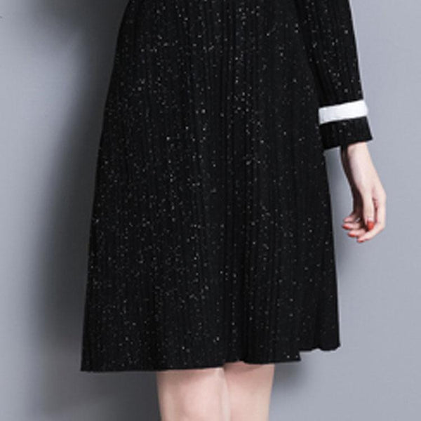 High-Collar Pleated Shift Dress