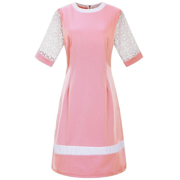 Large Size Round Collar Splicing Shift Dress
