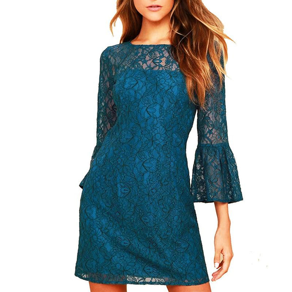 Lace Speaker Sleeved Casual Shift Dress