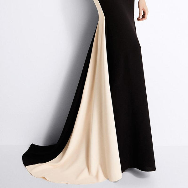 Sleeveless Spell Color Slim Evening Dress