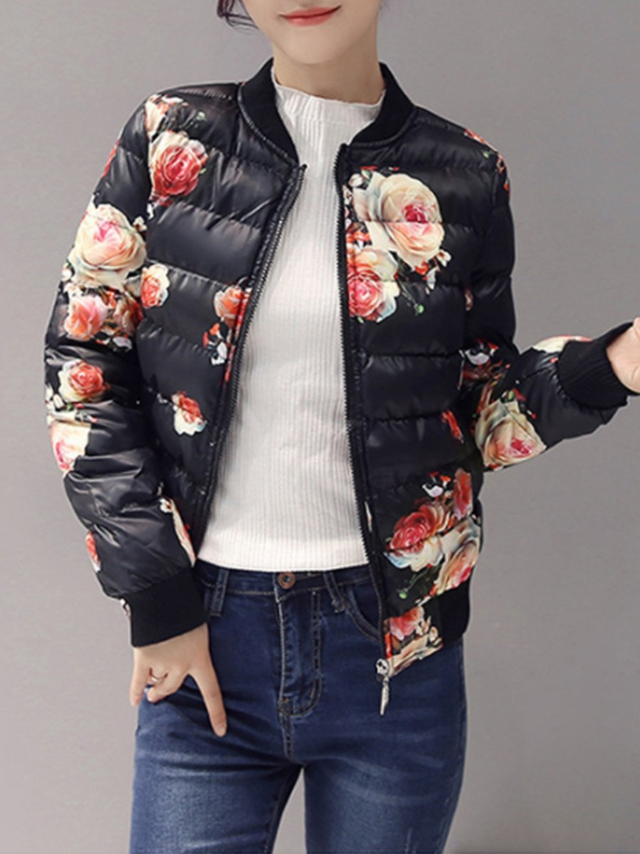 Collar Slit Pocket Zipper Floral Printed Coats