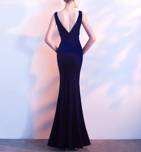Elegant Fishtail V Collar Sexy Evening Dress