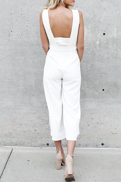 Open Shoulder Backless Zipper Belt Plain Sleeveless Jumpsuits