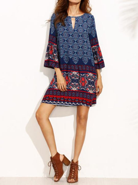 Round Neck Keyhole Tribal Printed Shift Dress