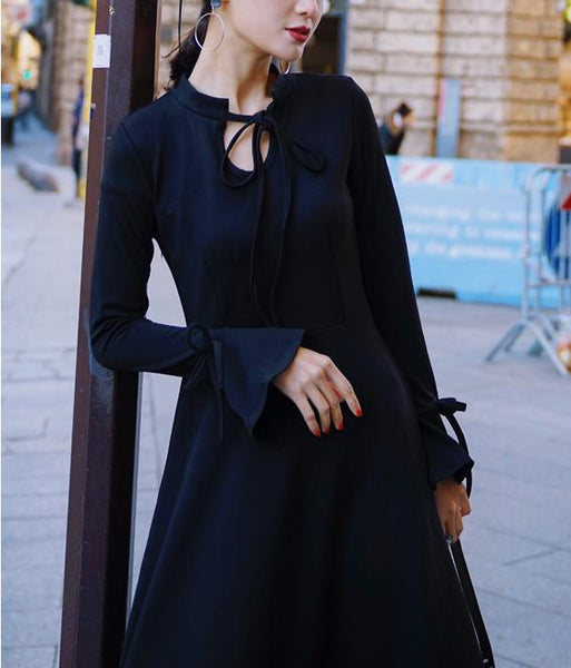 Speaker Sleeves Slim Skater Dress