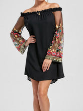 Load image into Gallery viewer, Off Shoulder Patchwork See-Through Embroidery Shift Dresses