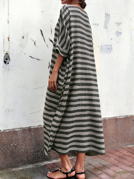 Oversized Striped Round Neck Pocket Maxi Dresses