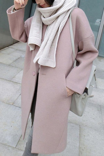 Fold Over Collar Single Button Plain Coats