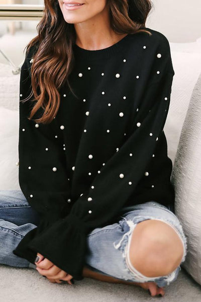 Round Neck Beading Patchwork Bell Sleeve Blouses