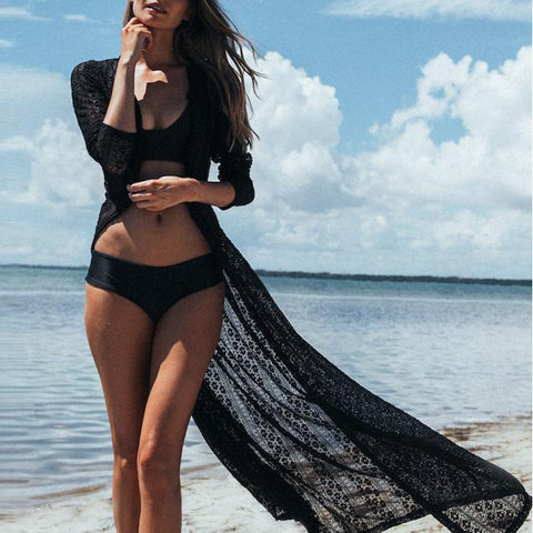 Lace Beach Cardigan Bikini Long Vacation Dress