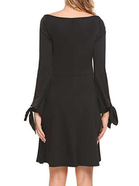 Black Off Shoulder Plain Skater Dress With Tie Bell Sleeve