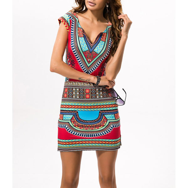 Ethnic Printed Slim Bodycon Dress