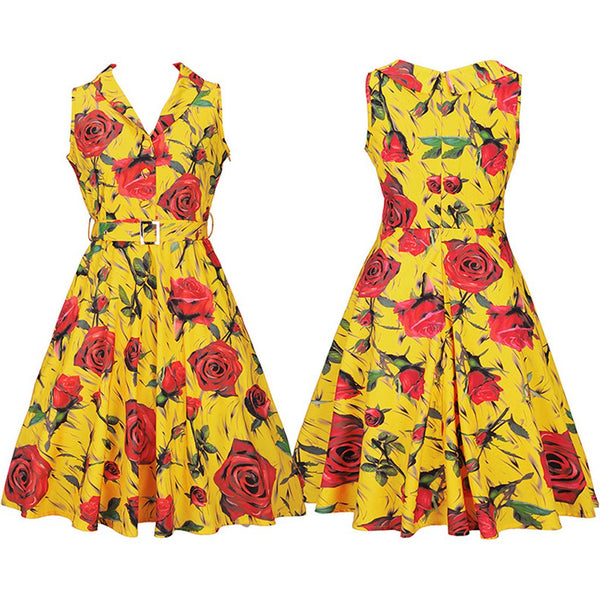 Rose Printed Vintage Lapel Skater Dress