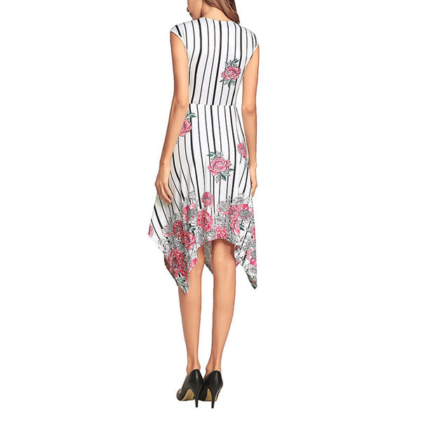 Printed Asymmetric Hem Dovetail Sexy Vacation Dress