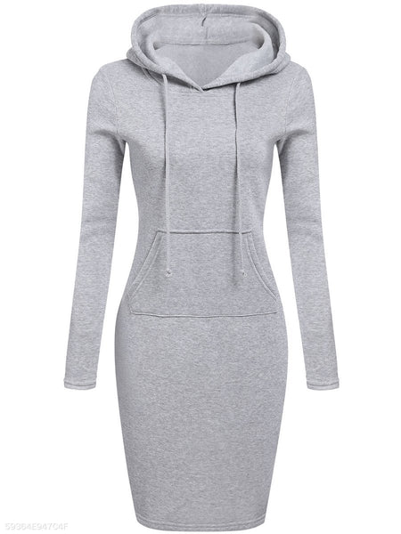 Hooded  Plain  Blend Bodycon Dresses