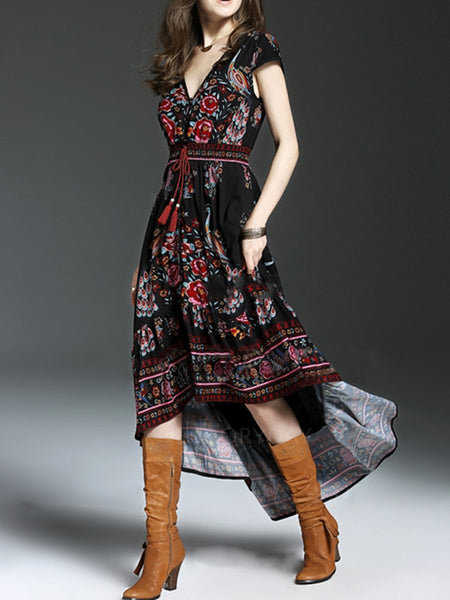 V-Neck  Drawstring  Printed  Polyester Maxi Dress