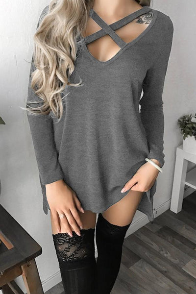 V Neck  Lace Up Side Vented  Plain T-Shirts