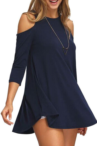 Open Shoulder  Cutout  Plain Blouses