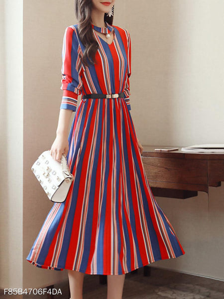 Round Neck Cutout Vertical Striped Belt Midi Skater Dress
