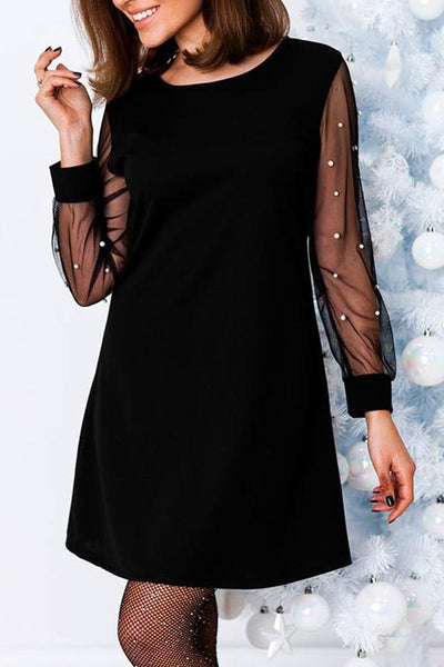 Round Neck Patchwork See Through Plain Polyester Shift Dress