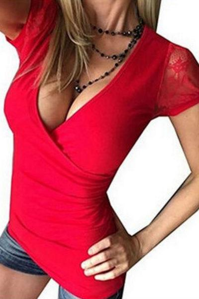 Deep V Neck  Hollow Out Plain T-Shirts