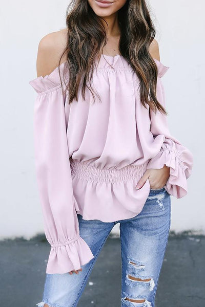 Off Shoulder Elastic Waist Ruffle Trim Plain Bell Sleeve Blouses