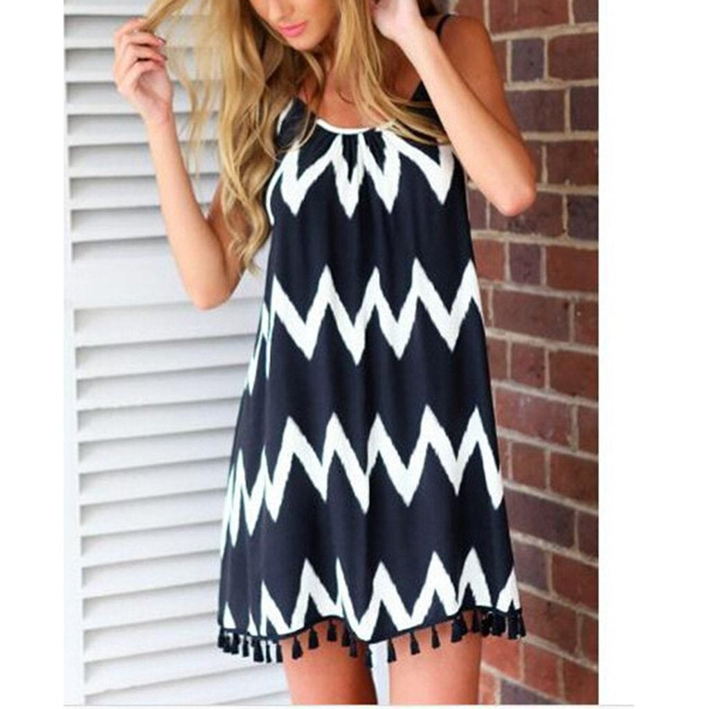 Black & White Wavy Stripes Tassel Sexy Sling Vacation Dress