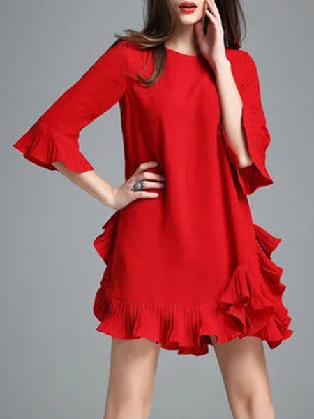 Round Neck Asymmetric Hem Plain Polyester Shift Dress
