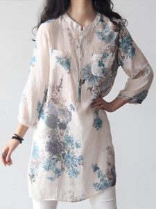 Band Collar Floral Printed Long Sleeve Blouses